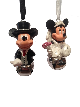 Disney Christmas Ornament Set Mickey And Minnie Wedding Bells