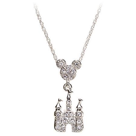 disney necklace mickey mouse cinderella castle dangle