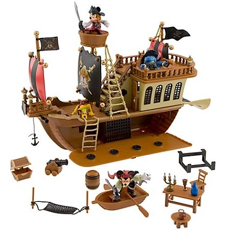 Disney Figurine Set Pirates Of The Caribbean Pirate Ship