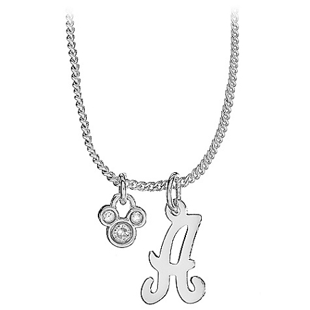 disney necklace silver initial crystal mickey mouse With disney necklace with letter