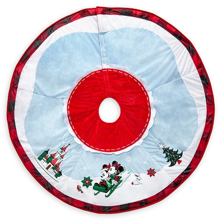 Christmas Tree Skirt - Holiday Mickey and Minnie Sledding