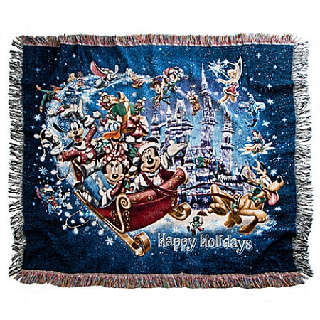 Disney Throw Blanket Holiday Mickey Mouse In Sleigh Blue