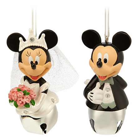 Disney Christmas Ornament Set Wedding Bells Minnie And Mickey