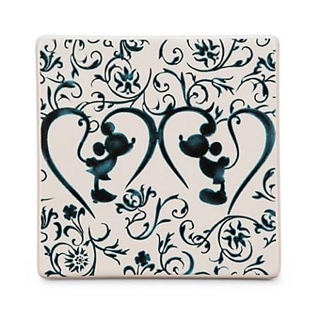 Disney Coaster Tile Mickey Mouse Icon Indigo Silhouette
