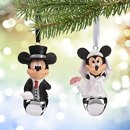 Disney Christmas Ornament Set Mickey And Minnie Wedding Bells