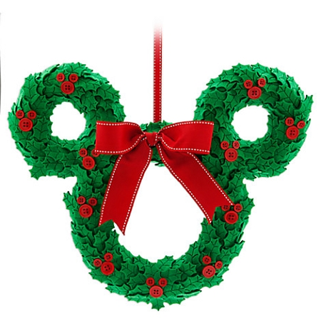 Christmas Door Hanger - Mickey Mouse Wreath with Bow