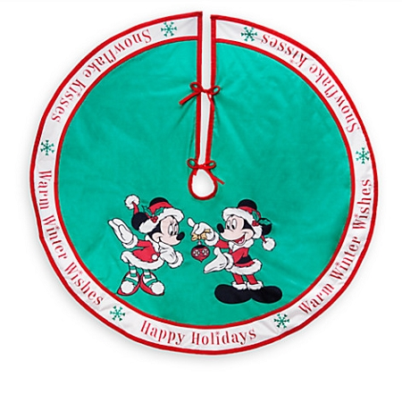 Disney Christmas Tree Skirt   Santa Mickey And Minnie Mouse   Green