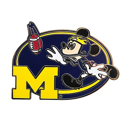 disney football pin ncaa michigan mickey mouse