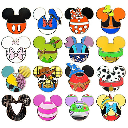 Disney Mystery Pin Set - Mickey Mouse Icon - 5 Random