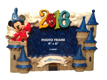 disney photo frame 2016 mickey mouse with castle resin 4 x 6 - Disney Photo Frames