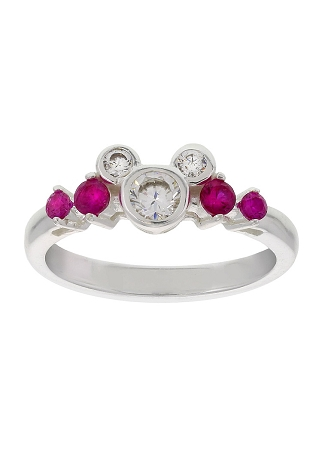 Disney Ring - Mickey Icon with Pink Stones - Sterling Silver