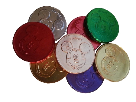 mickey mouse chocolate coins