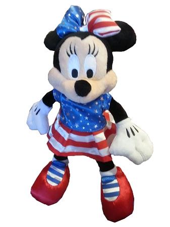 Disney Plush Minnie Mouse Patriotic Red White Blue