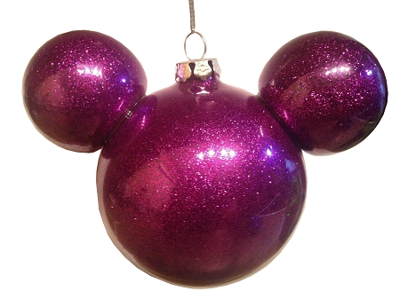 Christmas Ornament - Mickey Mouse Ears - Sparkle Purple