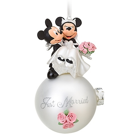 Christmas Ornament - Just Married - Minnie Mickey Mouse Wedding