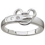 Disney Ring - Sterling Silver and CZ Belt Buckle Mickey Mouse