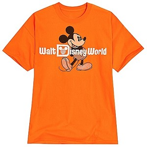 Disney Shirt for ADULTS - Classic Mickey Mouse Tee - Orange