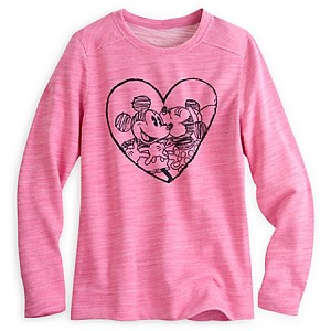 Disney Ladies Shirt - Mickey and Minnie Mouse Heart Pullover - Pink