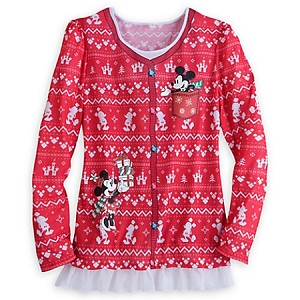 Disney Shirt for Women - Holiday Mickey and Minnie Faux Tee