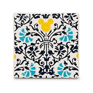Disney Coaster Tile Mickey Mouse Icon Indigo Floral