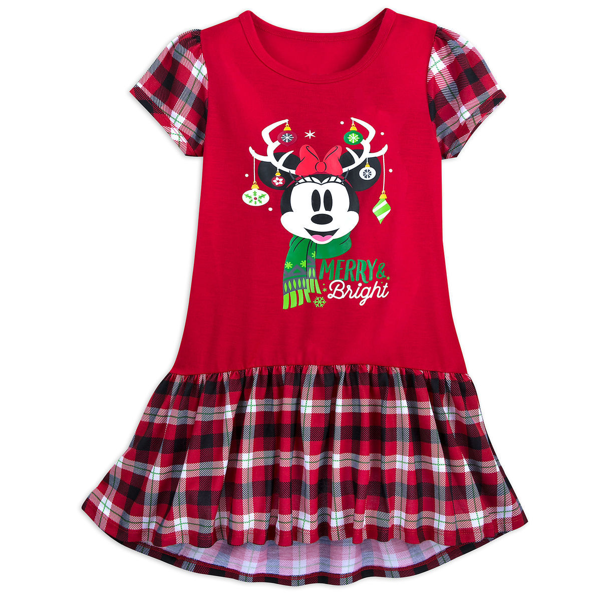 Disney Minnie Mouse Girls Plaid Gifts Nightgown