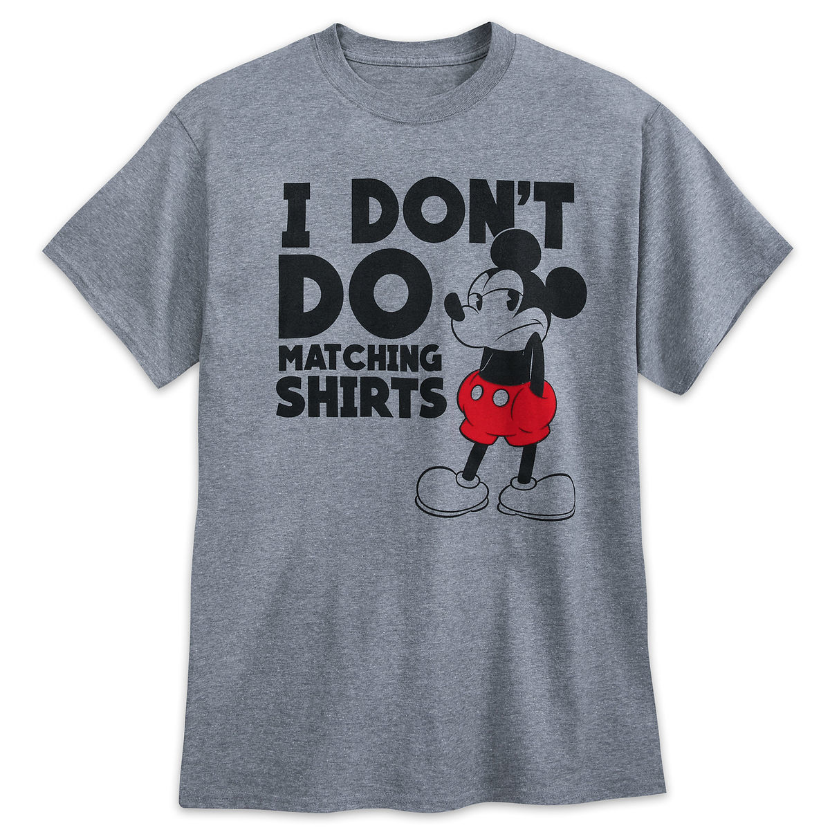 5538f14a8 Disney T-Shirt for Adults - Mickey Mouse - I Don't Do Matching Shirts