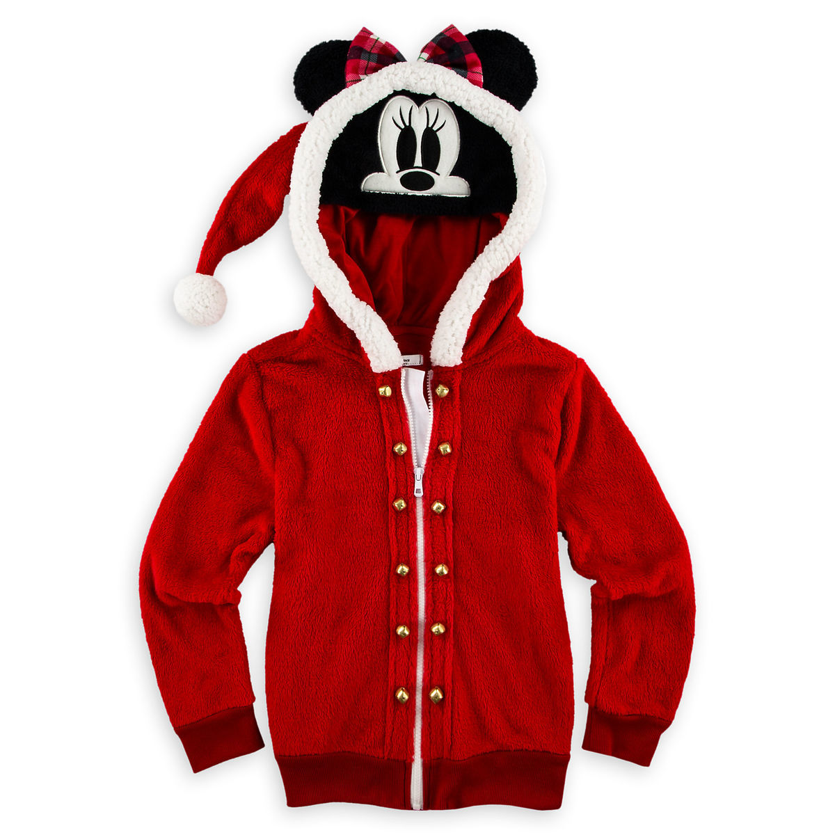 3865ecac9 Disney Jacket for Girls - Holiday Santa Minnie Mouse - Hooded Fleece