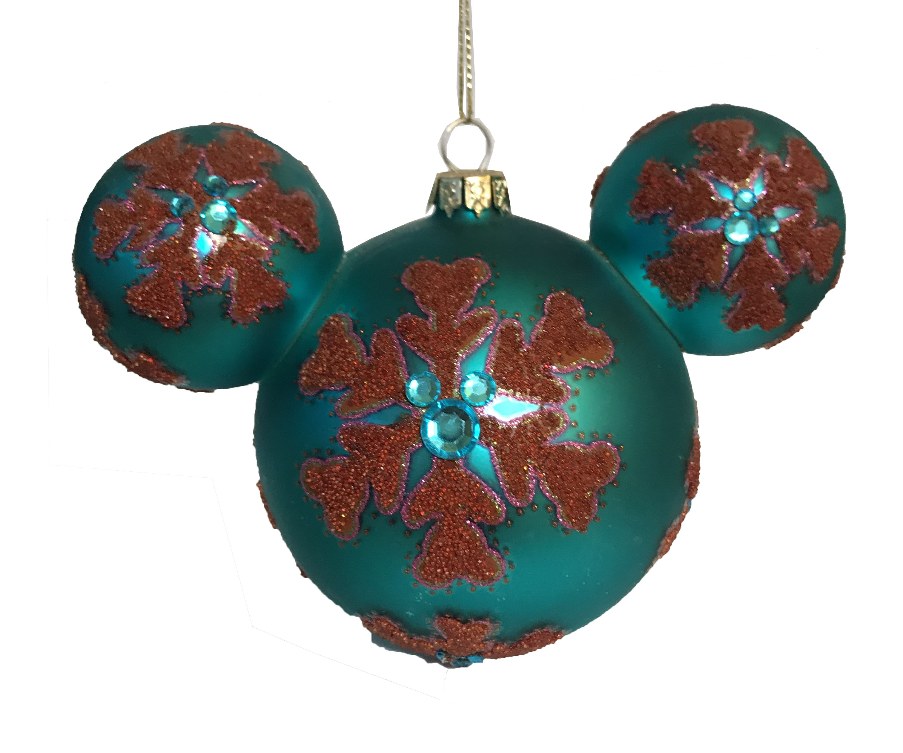 Disney Christmas Ornament - Bohemian Mickey Ears - Blue Snowflake