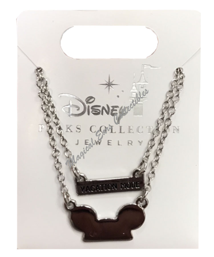 Disney Necklace - Mickey Ears Hat with Vacation Mode Charm - Silver