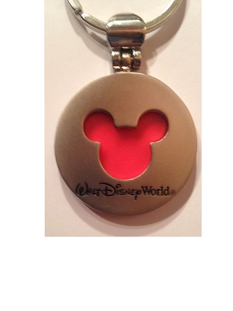 Disney Keychain Keyring - Transparent Mickey Mouse Icon - Red