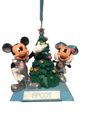 Mickey And Minnie Mouse Christmas Tree Decorations.Disney Christmas Ornament Epcot Mickey Minnie Mouse