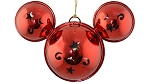 Disney Mickey Ears Icon Ornament - Mickey Mouse Metal Bell - Red