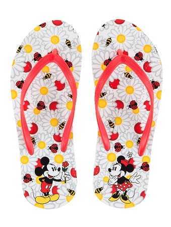 b366a55bc07 Disney Flip Flops for Women - Flowers Mickey and Minnie Mouse