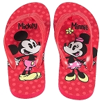 Disney Flip Flops for Girls - Mickey and Minnie Mouse - Red