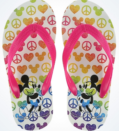 Disney Flip Flops for Girls - Peace Love Mickey