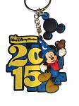 Disney Keychain - 2015 Sorcerer Mickey Mouse - Rubber