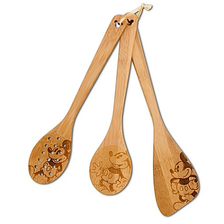 Disney Kitchen Utensil - Bamboo Mickey Mouse Spoons - Set of 3