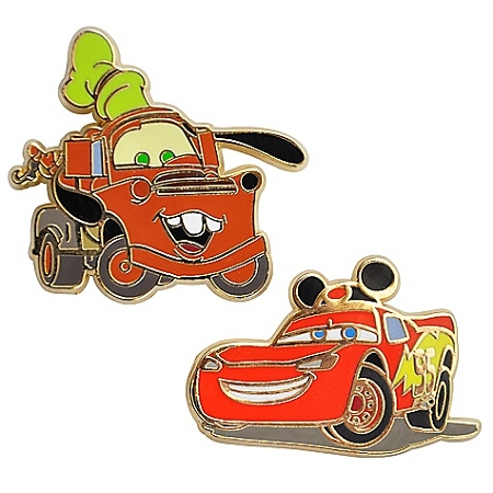 Disney Pins- Mater and Lightning McQueen Cars-- 2-Pc.