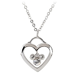 Disney Arribas Necklace - Mickey Mouse and Heart Icon - Crystal