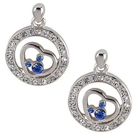 Disney Arribas Earrings - Mickey Heart with Blue Swarovski Crystal