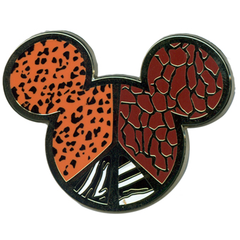 Disney Pin- Mickey Mouse Icon - Animal Print Peace Sign