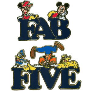 Disney Fab Five Letter Pin Set - Mickey and Friends