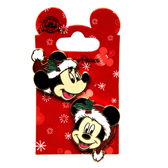 Disney Christmas Pin Set -  Mickey and Minnie Santa Hat