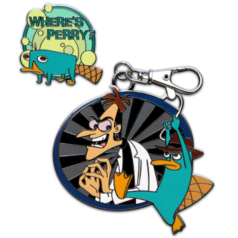 Disney Lanyard Medal and Pin - Phineas & Ferb - Where's Perry