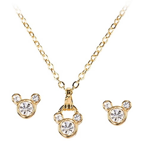 Disney Necklace and Earring Set - Crystal Mickey Mouse -- 3-Pc.