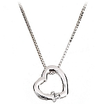 Disney Necklace - Sterling Silver Swing Heart Mickey Mouse