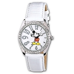 Disney Wrist Watch - White Leather Glitter Mickey Mouse