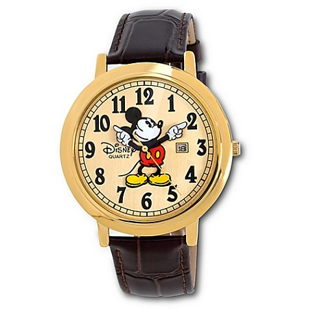 Disney Wrist Watch - Jumbo Classic Mickey Mouse -- Brown/Gold