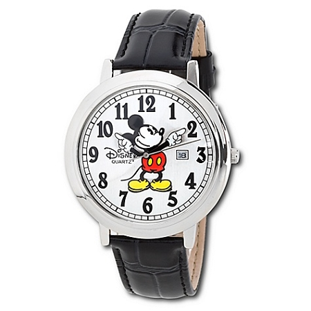 Disney Wrist Watch - Jumbo Classic Mickey Mouse -- Black/Silver