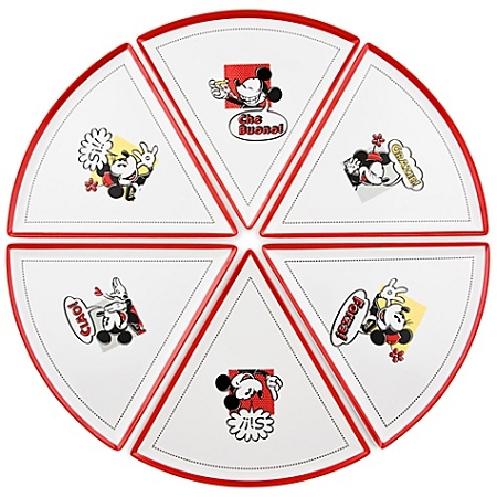 Disney Pizza Plates - Mickey and Minnie Mouse - Set of 6